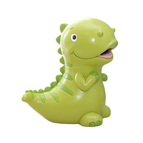 7.5 x 7.5 Inches Lovely Green Dinosaur Shaped Large Size Resin Piggy Bank Coin Bank Money Bank Best Christmas Birthday Gifts for Kids Boys Girls Home Decoration