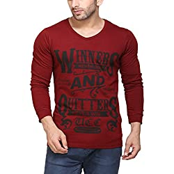 Unisopent Designs Men's Cotton Printed T-Shirt (Red_Small)