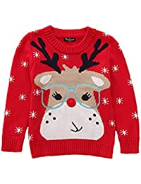 Toctax Suéter de Bebé Navidad Dibujos Animados de Jersey de Navidad Bordado Prendas de Punto Espesar Suéter Jersey de Cuello de Algodón Suéter de Navidad Rojo para Niña 1-6 Años