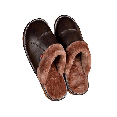 TELLW Pantofole in Pelle casa Uomini Signore Indoor Pavimento in Legno Non-Slip Caldo lanugine Pantofole Marrone scuro