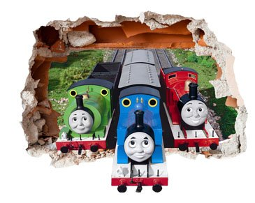 Thomas The Tank Engine Design Childrenu0027s Repositionable Self Adhesive Vinyl  3D Hole In The Wall Sticker Décor