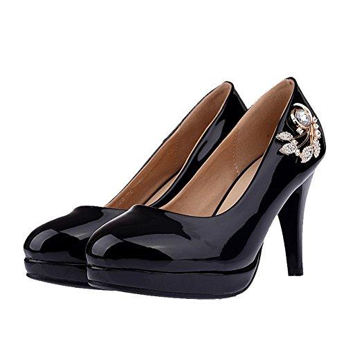 VogueZone009 Femme Verni Tire Rond à Talon Haut Mosaïque Chaussures Légeres Noir