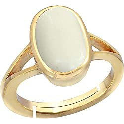 Gemorio White Coral Safed Moonga 6.5cts or 7.25ratti Panchdhatu Adjustable Ring For Women