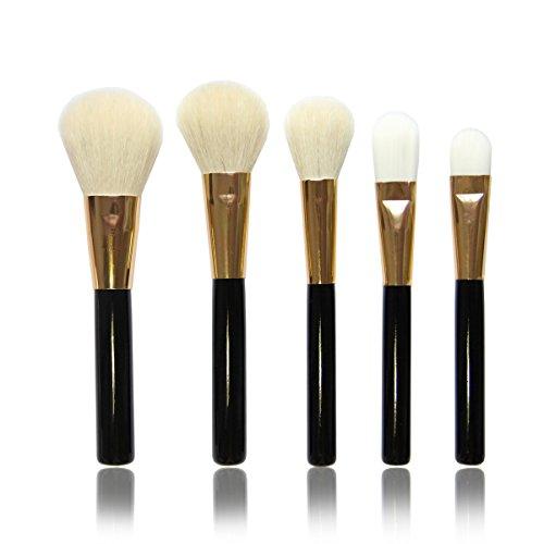 Vococal® 5 Pièces Manche Bois Laine-Comme Cheveux Ronde Tête Visage Maquillage Brosse Cosmétiques Set