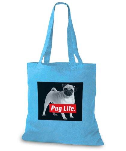 StyloBags Jutebeutel / Tasche Pug Life v1 Sky