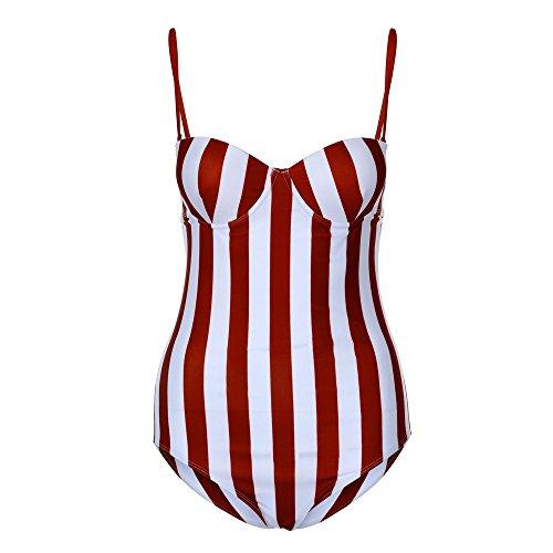Badeanzug Rosennie Damen Gestreiften Streifen Dreieck Swimwear Fashion Sexy Elastischer One Piece Bikini Set Push-Up Gepolsterter Bra Rot BH Bademode Elegant Vintage Mode Triangle Bikini (XL, Rot) -