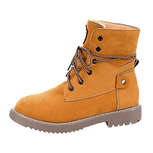 (MYMYG Damen Stiefeletten Casual Mode Frauen Flache Unterseite Warme Schuhe Stiefel Student Casual Schuhe Ohne Absatz Boots Flache Halbschaft Übergrößen Lange Boots)