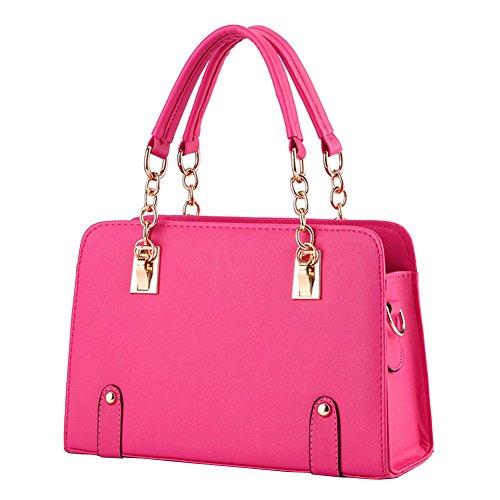 Borse a Mano per Donna in PU Pelle con Tracolla di Colore Solido Rosa
