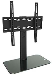 RICOO Meuble TV Design FS304B Support pied en verre support meuble tele pied support pour TV LED écran meubles TV rack support VESA 400x400 support universel meuble hifi avec rack de dépose en verre