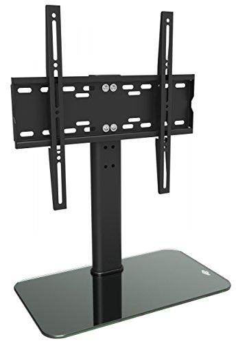 RICOO TV Ständer Höhenverstellbar Fernsehtisch Standfuß Universal Halterung FS304B Fernsehstand LCD LED Fernseher Stand Flachbildschirm Glas Aufsatz Möbel VESA 400x400 Tischständer / Schwarz