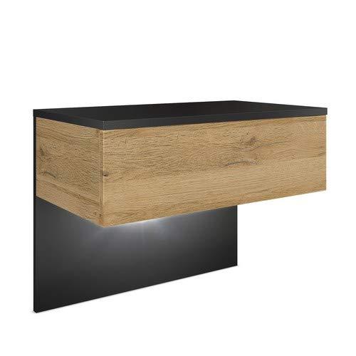 Vladon Nachttisch Nachtkonsole Sleep, Korpus in Schwarz matt/Front und Seiten in Eiche Natur, inkl. LED Beleuchtung