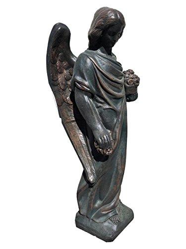 Antikes Wohndesign Engel Engelsfigur Trauender Engel Frauen Statue Statue Gartenfigur Bronze Grünspann Optik