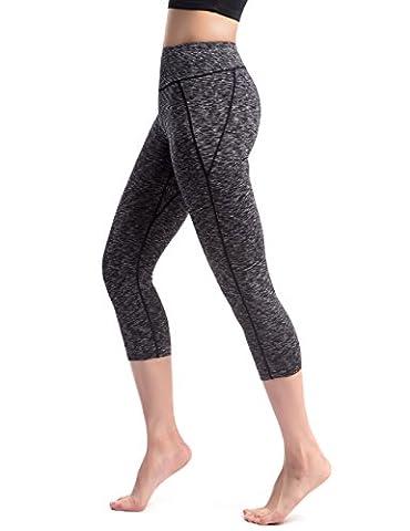 Alivebody Frauen Tight Capri Yoga Legging Workout Hosen mit breitem Bund für Bodybuilding Grau S