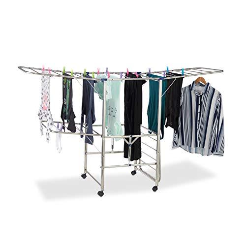 Relaxdays Wäscheständer XXL, Standtrockner, Türmständer mit Flügeln und Rollen, faltbar, HBT 111 x 185,5 x 53 cm, Silber