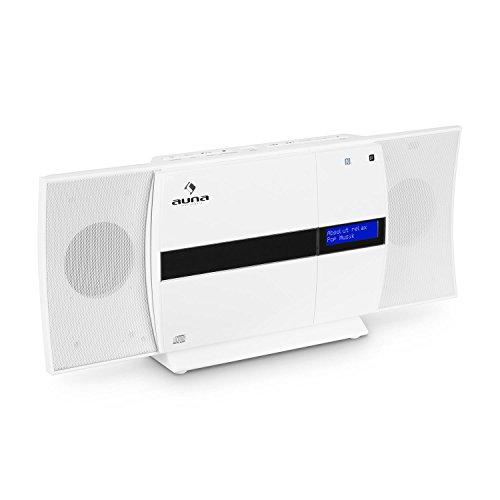 auna V-20 • Vertikal-Stereoanlage • Micro-Stereoanlage • CD-Player • MP3 • DAB+ Tuner • UKW-Empfänger • Bluetooth • NFC • Standaufstellung / platzsparende Wandmontage • USB • Fernbedienung • LED-Display mit Uhrzeitanzeige • AUX-Eingang • weiß