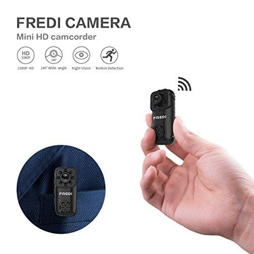 Mini Kamera FREDI 1080P HD Tragbare Kamera IP Überwachungskamera Sicherheit Kamera P2P Kleine mit Bewegungsmelder/IR Nachtsicht mit Akku Innen Außen Haus für IOS Andriod iPhone