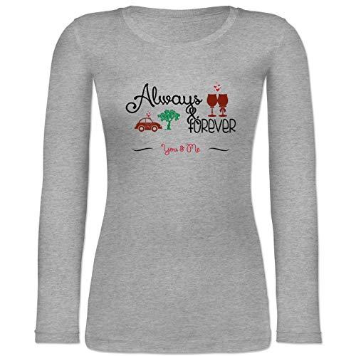 Statement Shirts - Always & Forever You & Me - M - Grau meliert - BCTW071 - Langarmshirt (Rot Und Weißwein Kostüm)