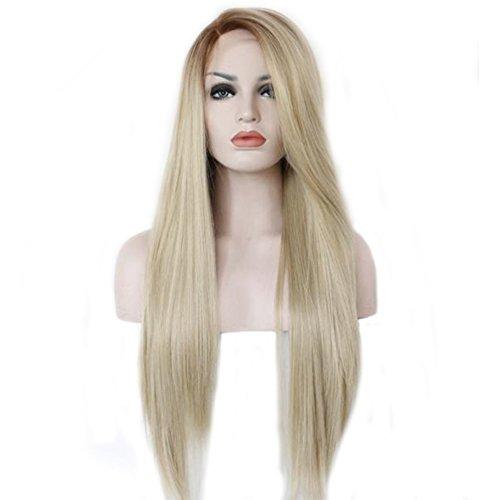 Mufly Blond Ombre Brown Roots Glattes Haar synthetische Spitze-Front-Perücke weiche volle Perücken Lace Front Full Wig für Cosplay Party Kostüm Karneval
