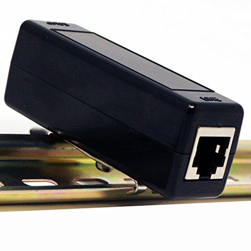 Tupavco Ethernet Überspannungsschutz DIN-Schiene oder Rack Cabinet Montage 1U GbE PoE + Gigabit 1000Mbs - LAN Netzwerk Donner Blitzüberspannungsschutz/Arrester Schutz TP309 Einzel DIN Schwarz 67