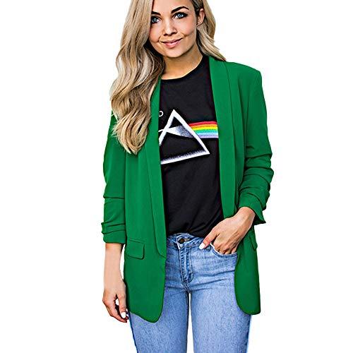 Damen Elegante Langärmelige Blazer Sakko MYMYG Einfarbig Slim Fit Vorne Offnung Tasche Tailliert Geschäft Büro Kurzjacke Jacke OL Mantel (Grün,EU:36/CN-M)