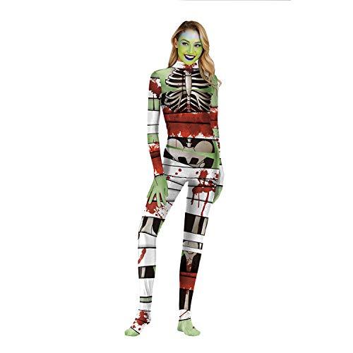 Stadt Kostüm Scary Party - GALEI Halloween 3D Print Overall Kostüm, Damen Kleid Cosplay, Horror Skeleton Langarm Body mit Handschuhen/Socken,Weiß,S
