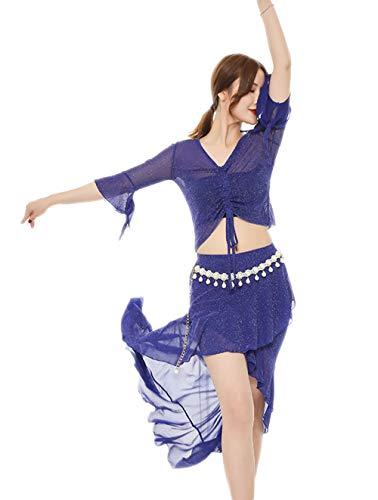Yuyudou Bauchtanzrock Tops Kostüm Set für Damen, Tanzender großer Swingrock, Tanz kostüme Anzug,Blue,L (Frei Tanz Kostüm Muster)