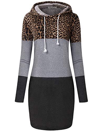 ABYOXI Damen Sport Sweatshirts Leopard Kapuzenpullover Kleid Langarm Hoodie Kleid Sweatshirtkleid Jumper Leopard M