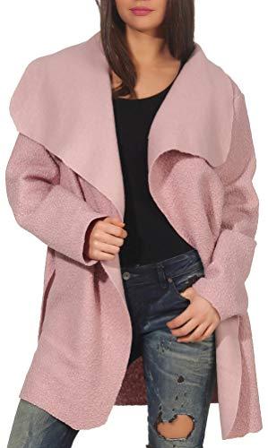 Malito Damen Wollmantel kurz   Boucle Wool   Trenchcoat mit Gürtel   weicher Dufflecoat   Parka - Jacke 9319 (rosa)
