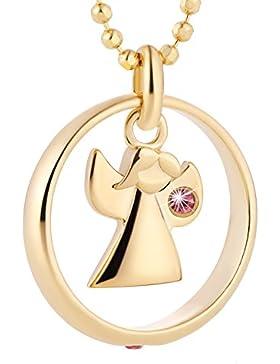 fish Mädchen Halskette Silber 925 vergoldet Schutzengel-Anhänger Taufring Taufgeschenk rosa Geschenkbox, Geschenk...