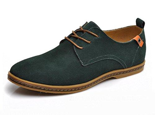 WZG chaussures de sport New chute mode hommes de suède cuir chaussures hommes flats 9.5 Green