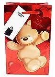 Valentinstags-Geschenktüte, klein, für Sie und Ihn, Bär, Herzform, Folie, Parfüm, Schmuck