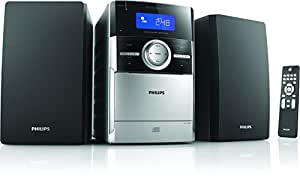 Philips MC151/12 Micro-Musiksystem mit CD-/Kassettendeck (4 W RMS, Dynamic Bass Boost, Wecker) silber