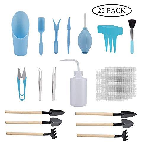 GCOA 22 Stück Mini-Garten-Handwerkzeuge Set Topfpflanze fleischig Garten Handwerkzeuge Set Sukkulenten Pflanzen Bonsai Pflanzen Indoor Pflanzen Werkzeug Set