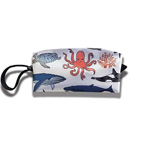 Doinh Ocean Animals von Andrea Lauren Kleine Kosmetiktasche Reisetasche mit Reißverschluss, wasserdichte Aufbewahrungstasche tragbare Kosmetiktasche mit Pailletten für Mädchen -