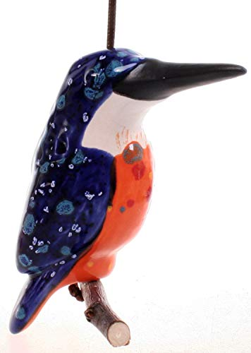 Schick-Design Keramik Eisvogel auf Holz 11 cm Hänger Figur Vogel Gartendekoration Balkon Deko Accessoire Garten Tier Wald