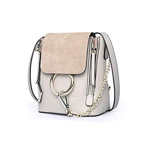 Hand&Star Frauen Retro Circular Ring Crossbody Rucksack Geldbörse Small PU Leather Shoulder Daypack Ladies Cute Chain Satchel Bag Makeup Pouch für Mädchen,Gray