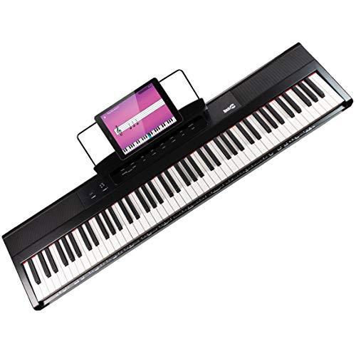 RockJam 88 Key Beginner Pianoforte digitale con chiavi semi-pesate a grandezza naturale, alimentatore, supporto per spartiti, app pianoforte semplice e adesivi con nota chiave (RJ88DP)