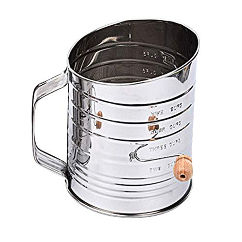 LMent Stainless Steel Flour Sifter Hand Crank Double-Layer Hand-Pressed Flour Sieve Baking Tool - Hand Sifter