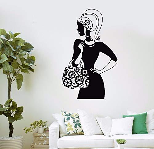 hllhpc Tasche Shop Shopping Mädchen Mode Frauen Schönheitssalon Wandaufkleber Bekleidungsgeschäft Vinyl Wandtattoo Fensterglas Room Decor57 * 92 cm (Lego Candy Taschen)