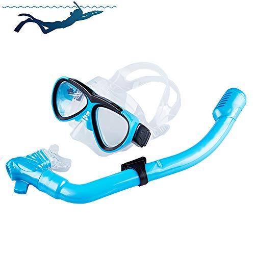 SDFHTYN Equipo de Buceo para niños Snorkeling Impermeable Snorkel Dos Sets,Blue