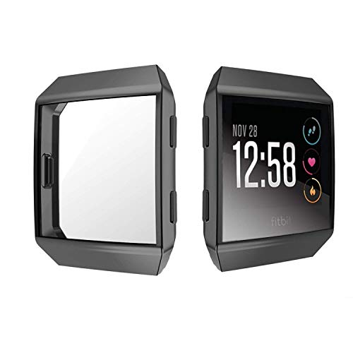 Jvchengxi für Fitbit Ionic Displayschutz Hülle, TPU Schutzfolie Allround-Schutzhülle High Definition Clear Ultradünne Schutzhülle für Fitbit Ionic Smart Fitness Watch (Schwarz)