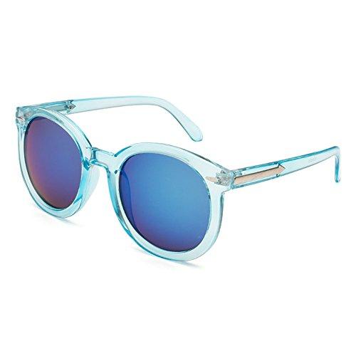 Blancho Reisen Blue Oval-Rahmen-Blau-Spiegel-Objektiv Retro Brillen Tages Sonnenbrillen