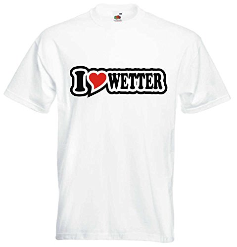 T-Shirt I Love Heart Herren I LOVE WETTER Weiß