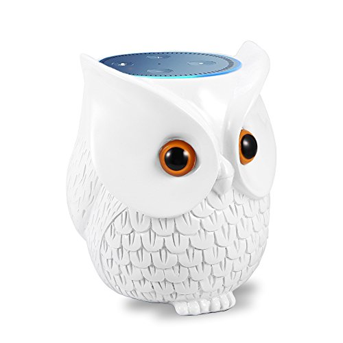 LinTimes Echo Dot Stand, Echo Dot Holder Stand, Creativce Owl Statue Crafted Guard Station, for Amazon Echo Dot 2nd and 1st Generation Guard Holder, for Smart Home (White)