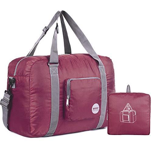 Wandf Leichter Faltbare Reise-Gepäck Handgepäck Duffel Taschen Übernachtung Taschen/Sporttasche für Reisen Sport Gym Urlaub Weekender handgepaeck (40L Weinrot)