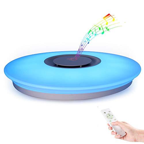 HOREVO Plafonnier LED avec Haut-parleur Bluetooth pour Musiqu, Télécommande APP, Dimmable, 24W Ø40cm 3000K-6500K RGBW Changement de Couleur Chaud/Blanc, Pendentif Lustre Smart Home Lamp Party Lamp