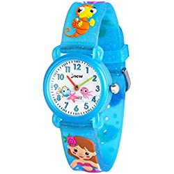 WOLFTEETH Analog Girls Toddlers School Day Reloj de Pulsera con segundero Cute Small Face Dial Redondo Water Girl Resistente a pequeñas Watch Sea Horse Band Blue 306606
