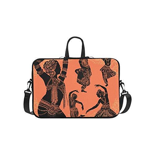 Schöne Schwarze afrikanische Frau Muster Aktentasche Laptoptasche Messenger Schulter Arbeitstasche Crossbody Handtasche für Geschäftsreisen (Traditionelle Tanz Kostüm Von Indien)