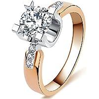 Yc top lussuoso matrimonio anello zircone placcato oro rosa nobile