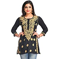 ADA Women's Cotton Hand Embroidered Lucknow Chikan Regular Fit Short Top (S250295, Black, Small)